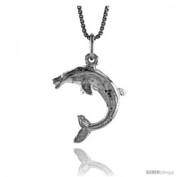 Sterling Silver Dolphin Pendant, 3/4 in Tall