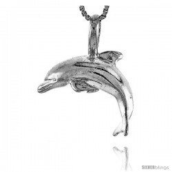 Sterling Silver Dolphin with O-Ring Pendant, 5/8 in Tall