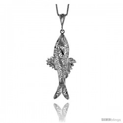 Sterling Silver Large Filigree Fish Pendant, 2 in Tall