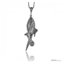 Sterling Silver Large Filigree Fish Pendant, 2 3/16 in Tall