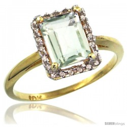 10k Yellow Gold Diamond Green-Amethyst Ring 1.6 ct Emerald Shape 8x6 mm, 1/2 in wide