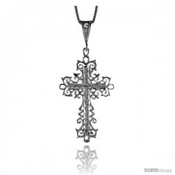 Sterling Silver Cross Pendant, 1 5/8 in -Style 4p66