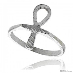 Sterling Silver Ankh Ring Polished finish 3/4 in wide