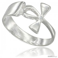 Sterling Silver Ankh Ring Polished finish 1/2 in wide