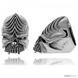 Sterling Silver Gothic Biker Skull Ring, 1 3/8 in wide