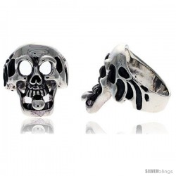 Sterling Silver Gothic Biker Skull Ring with Tongue Sticking out, 1 in wide