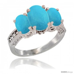 10K White Gold Ladies Natural Turquoise Oval 3 Stone Ring Diamond Accent