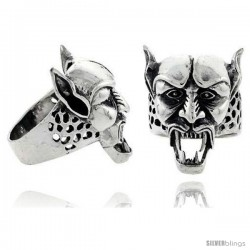 Sterling Silver Demon Gothic Biker Skull Ring, 1 1/4 in wide