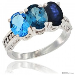 14K White Gold Natural Swiss Blue Topaz, London Blue Topaz & Blue Sapphire Ring 3-Stone 7x5 mm Oval Diamond Accent