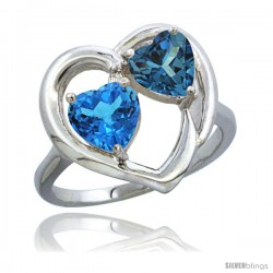 14k White Gold 2-Stone Heart Ring 6mm Natural Swiss Blue & London Blue Topaz Diamond Accent