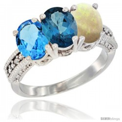 14K White Gold Natural Swiss Blue Topaz, London Blue Topaz & Opal Ring 3-Stone 7x5 mm Oval Diamond Accent