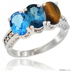 14K White Gold Natural Swiss Blue Topaz, London Blue Topaz & Tiger Eye Ring 3-Stone 7x5 mm Oval Diamond Accent