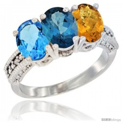 14K White Gold Natural Swiss Blue Topaz, London Blue Topaz & Whisky Quartz Ring 3-Stone 7x5 mm Oval Diamond Accent