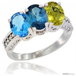 14K White Gold Natural Swiss Blue Topaz, London Blue Topaz & Lemon Quartz Ring 3-Stone 7x5 mm Oval Diamond Accent