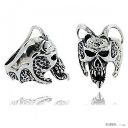 Sterling Silver Demon Skull with Horns Gothic Biker Ring, 1 1/4 in wide