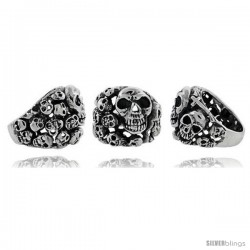 Sterling Silver Skull yard Gothic Biker Ring, 1 in wide
