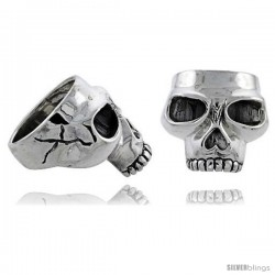 Sterling Silver Gothic Biker Skull Ring, 1 in wide
