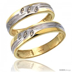 10k Gold 2-Pc His (5mm) & Hers (4.5mm) Diamond Wedding Ring Band Set w/ 0.045 Carat Brilliant Cut Diamonds