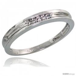 10k White Gold Ladies' Diamond Wedding Band, 1/8 in wide -Style 10w104lb