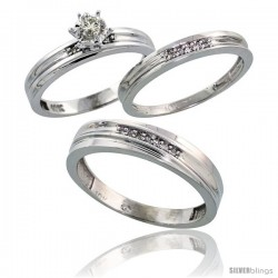 10k White Gold Diamond Trio Wedding Ring Set His 5mm & Hers 3mm