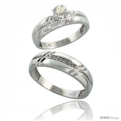 10k White Gold 2-Piece Diamond wedding Engagement Ring Set for Him & Her, 5.5mm & 6mm wide