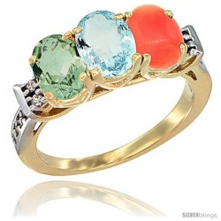 10K Yellow Gold Natural Green Amethyst, Aquamarine & Coral Ring 3-Stone Oval 7x5 mm Diamond Accent
