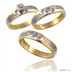 10k Gold 3-Pc. Trio His (5mm) & Hers (4.5mm) Diamond Wedding Ring Band Set, w/ 0.075 Carat Brilliant Cut Diamonds
