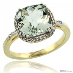 14k Yellow Gold Diamond Green-Amethyst Ring 3.05 ct Cushion Cut 9x9 mm, 1/2 in wide