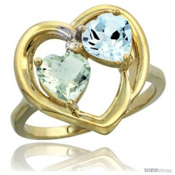 14k Yellow Gold 2-Stone Heart Ring 6mm Natural Green Amethyst & Aquamarine Diamond Accent, Diamond Accent