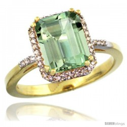 14k Yellow Gold Diamond Green-Amethyst Ring 2.53 ct Emerald Shape 9x7 mm, 1/2 in wide