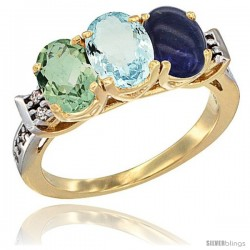 10K Yellow Gold Natural Green Amethyst, Aquamarine & Lapis Ring 3-Stone Oval 7x5 mm Diamond Accent