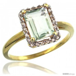 14k Yellow Gold Diamond Green-Amethyst Ring 1.6 ct Emerald Shape 8x6 mm, 1/2 in wide