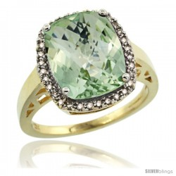 14k Yellow Gold Diamond Green-Amethyst Ring 5.17 ct Checkerboard Cut Cushion 12x10 mm, 1/2 in wide