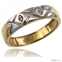 10k Gold Ladies' Diamond Wedding Ring Band, w/ 0.013 Carat Brilliant Cut Diamonds, 5/32 in. (4.5mm) wide