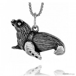 Sterling Silver Seal Pendant, 3/4 in Tall -Style 4p661