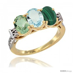 10K Yellow Gold Natural Green Amethyst, Aquamarine & Malachite Ring 3-Stone Oval 7x5 mm Diamond Accent