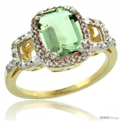 14k Yellow Gold Diamond Green-Amethyst Ring 2 ct Checkerboard Cut Cushion Shape 9x7 mm, 1/2 in wide