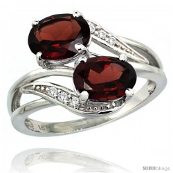 14k White Gold ( 8x6 mm ) Double Stone Engagement Garnet Ring w/ 0.07 Carat Brilliant Cut Diamonds & 2.34 Carats Oval Cut
