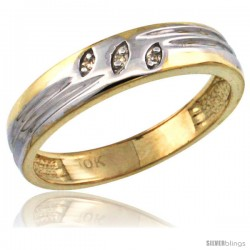 10k Gold Ladies' Diamond Wedding Ring Band, w/ 0.019 Carat Brilliant Cut Diamonds, 5/32 in. (4.5mm) wide