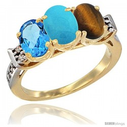 10K Yellow Gold Natural Swiss Blue Topaz, Turquoise & Tiger Eye Ring 3-Stone Oval 7x5 mm Diamond Accent