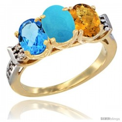 10K Yellow Gold Natural Swiss Blue Topaz, Turquoise & Whisky Quartz Ring 3-Stone Oval 7x5 mm Diamond Accent