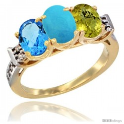10K Yellow Gold Natural Swiss Blue Topaz, Turquoise & Lemon Quartz Ring 3-Stone Oval 7x5 mm Diamond Accent