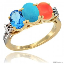 10K Yellow Gold Natural Swiss Blue Topaz, Turquoise & Coral Ring 3-Stone Oval 7x5 mm Diamond Accent