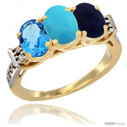 10K Yellow Gold Natural Swiss Blue Topaz, Turquoise & Lapis Ring 3-Stone Oval 7x5 mm Diamond Accent