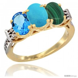 10K Yellow Gold Natural Swiss Blue Topaz, Turquoise & Malachite Ring 3-Stone Oval 7x5 mm Diamond Accent