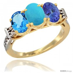 10K Yellow Gold Natural Swiss Blue Topaz, Turquoise & Tanzanite Ring 3-Stone Oval 7x5 mm Diamond Accent