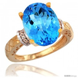 10k Yellow Gold Diamond Swiss Blue Topaz Ring 5.5 ct Oval 14x10 Stone