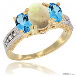 10K Yellow Gold Ladies Oval Natural Opal 3-Stone Ring with Swiss Blue Topaz Sides Diamond Accent