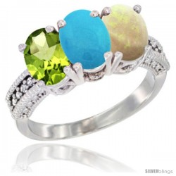 14K White Gold Natural Peridot, Turquoise & Opal Ring 3-Stone Oval 7x5 mm Diamond Accent