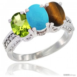 14K White Gold Natural Peridot, Turquoise & Tiger Eye Ring 3-Stone Oval 7x5 mm Diamond Accent